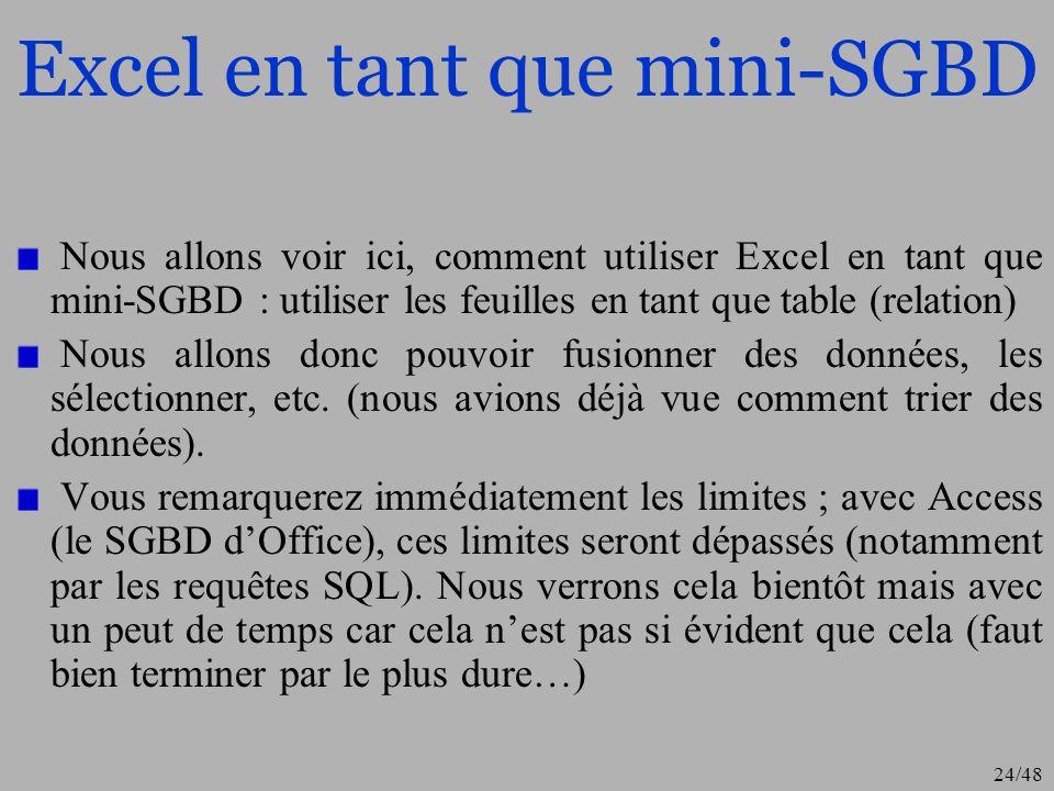 24/48 Excel en tant que mini-SGBD Nous allons voir ici, comment utiliser Excel en tant que mini-SGBD : utiliser les feuilles en tant que table (relati