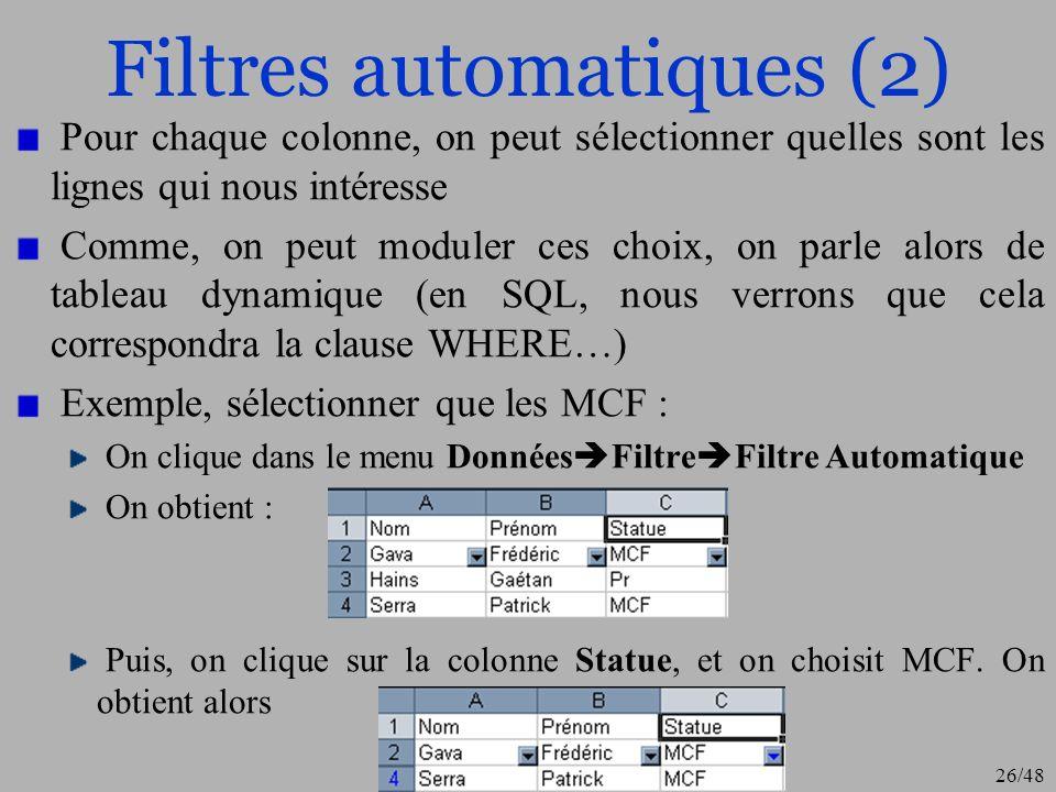 26/48 Filtres automatiques (2) Pour chaque colonne, on peut sélectionner quelles sont les lignes qui nous intéresse Comme, on peut moduler ces choix,