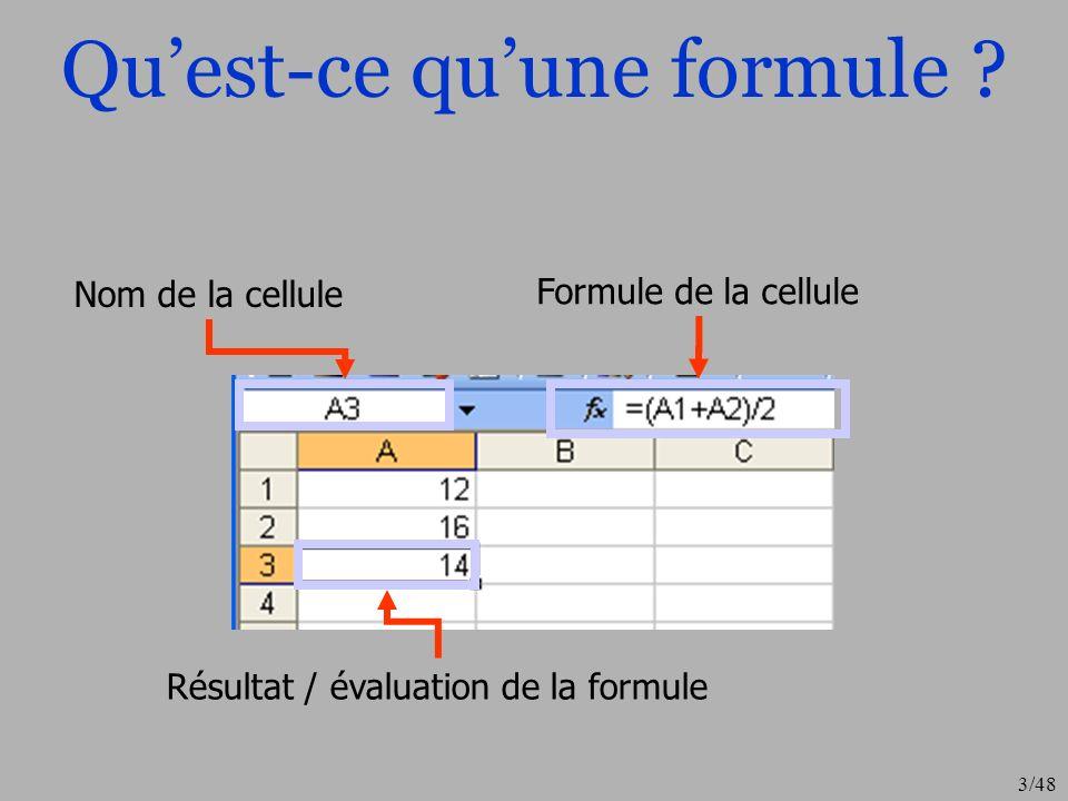 3/48 Quest-ce quune formule ? Nom de la cellule Formule de la cellule Résultat / évaluation de la formule
