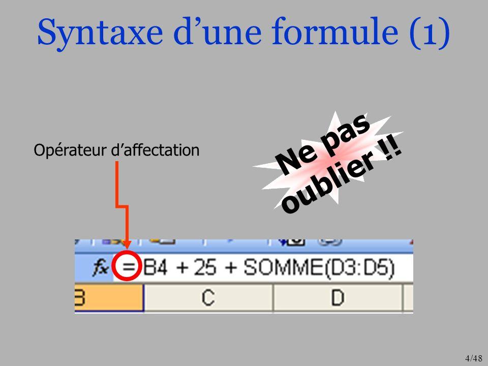 4/48 Syntaxe dune formule (1) Opérateur daffectation Ne pas oublier !!