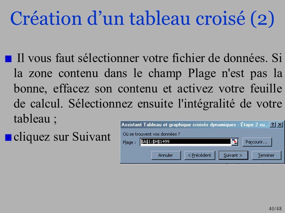 40/48 Création dun tableau croisé (2) Il vous faut sélectionner votre fichier de données. Si la zone contenu dans le champ Plage n'est pas la bonne, e