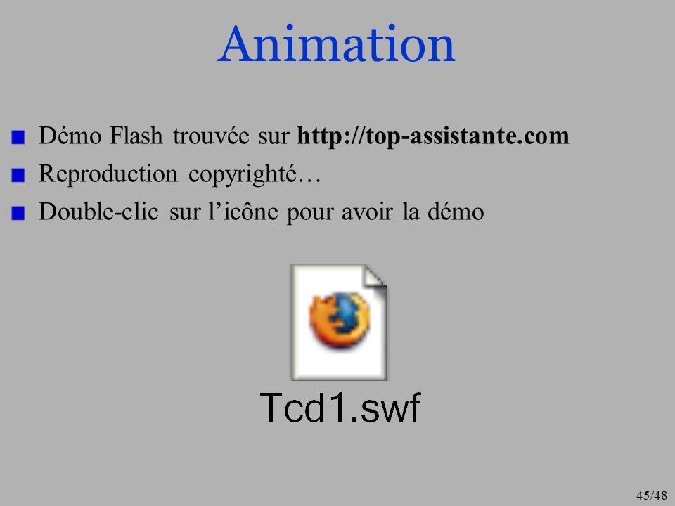 45/48 Animation Démo Flash trouvée sur http://top-assistante.com Reproduction copyrighté… Double-clic sur licône pour avoir la démo