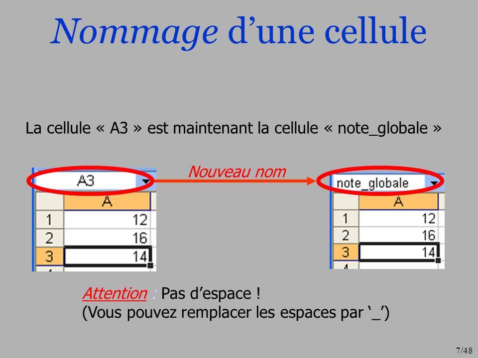 7/48 Nommage dune cellule La cellule « A3 » est maintenant la cellule « note_globale » Nouveau nom Attention : Pas despace ! (Vous pouvez remplacer le