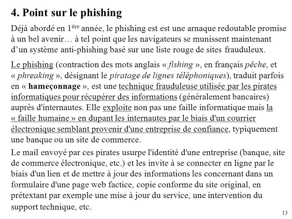 13 4. Point sur le phishing Déjà abordé en 1 ère année, le phishing est est une arnaque redoutable promise à un bel avenir… à tel point que les naviga