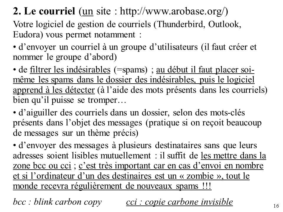 16 2. Le courriel (un site : http://www.arobase.org/) Votre logiciel de gestion de courriels (Thunderbird, Outlook, Eudora) vous permet notamment : de