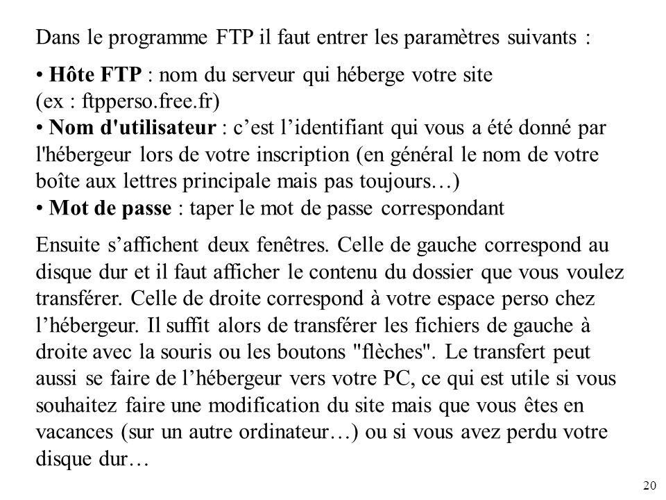 20 Dans le programme FTP il faut entrer les paramètres suivants : Hôte FTP : nom du serveur qui héberge votre site (ex : ftpperso.free.fr) Nom d'utili
