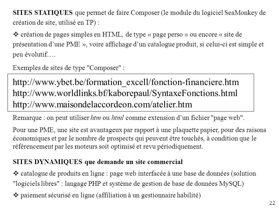 22 SITES STATIQUES que permet de faire Composer (le module du logiciel SeaMonkey de création de site, utilisé en TP) : création de pages simples en HT