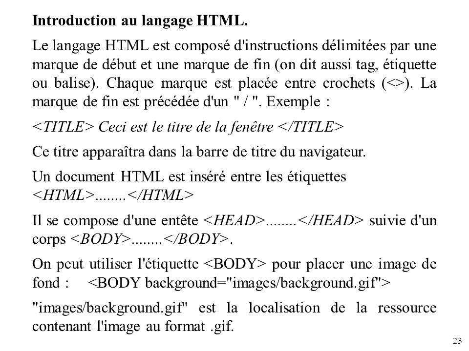 23 Introduction au langage HTML. Le langage HTML est composé d'instructions délimitées par une marque de début et une marque de fin (on dit aussi tag,