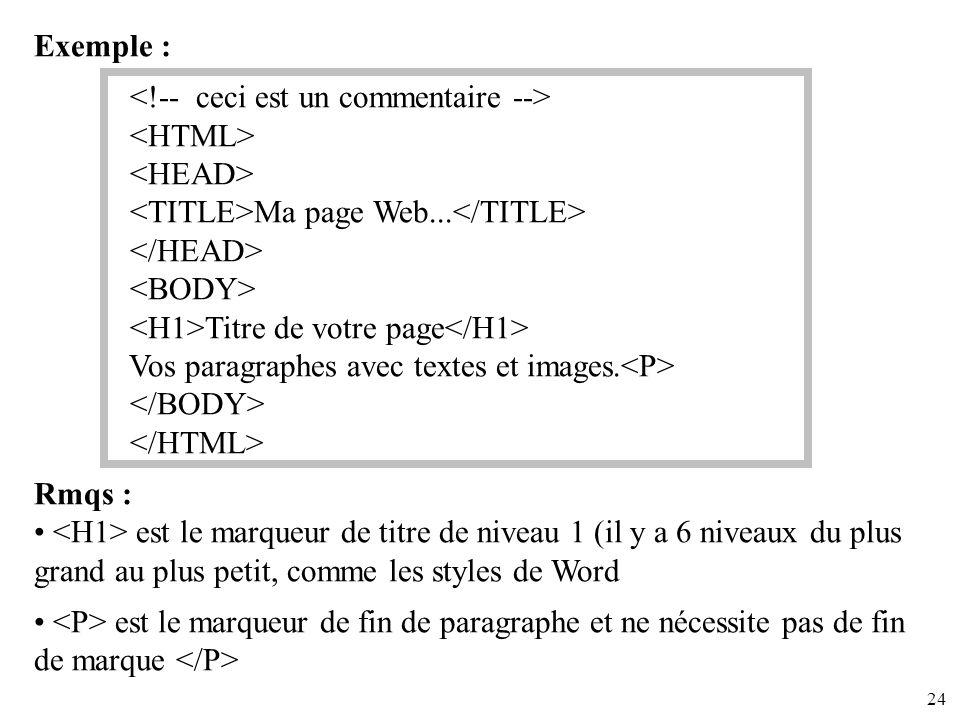 24 Exemple : Ma page Web... Titre de votre page Vos paragraphes avec textes et images. Rmqs : est le marqueur de titre de niveau 1 (il y a 6 niveaux d