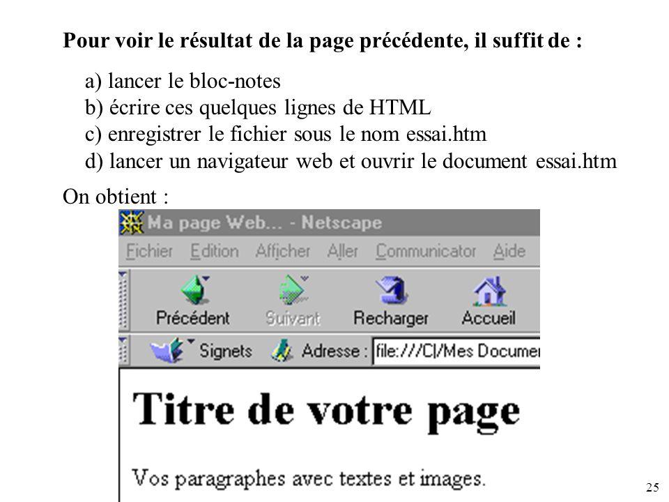 25 Pour voir le résultat de la page précédente, il suffit de : a) lancer le bloc-notes b) écrire ces quelques lignes de HTML c) enregistrer le fichier