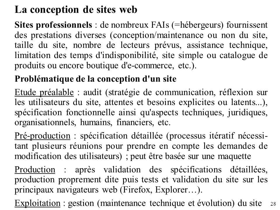 28 La conception de sites web Sites professionnels : de nombreux FAIs (=hébergeurs) fournissent des prestations diverses (conception/maintenance ou no