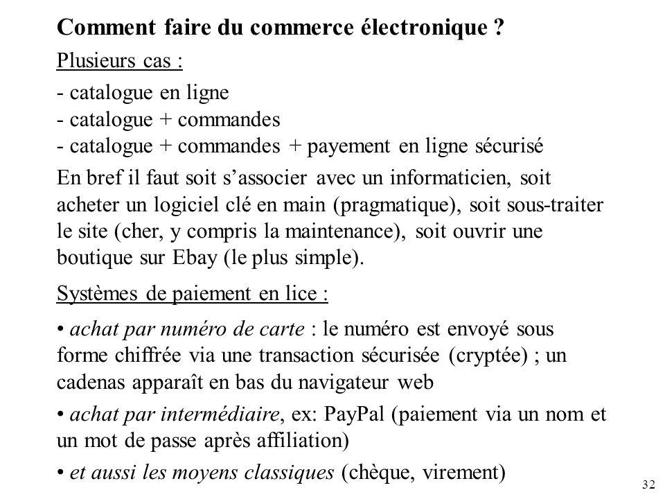32 Comment faire du commerce électronique ? Plusieurs cas : - catalogue en ligne - catalogue + commandes - catalogue + commandes + payement en ligne s