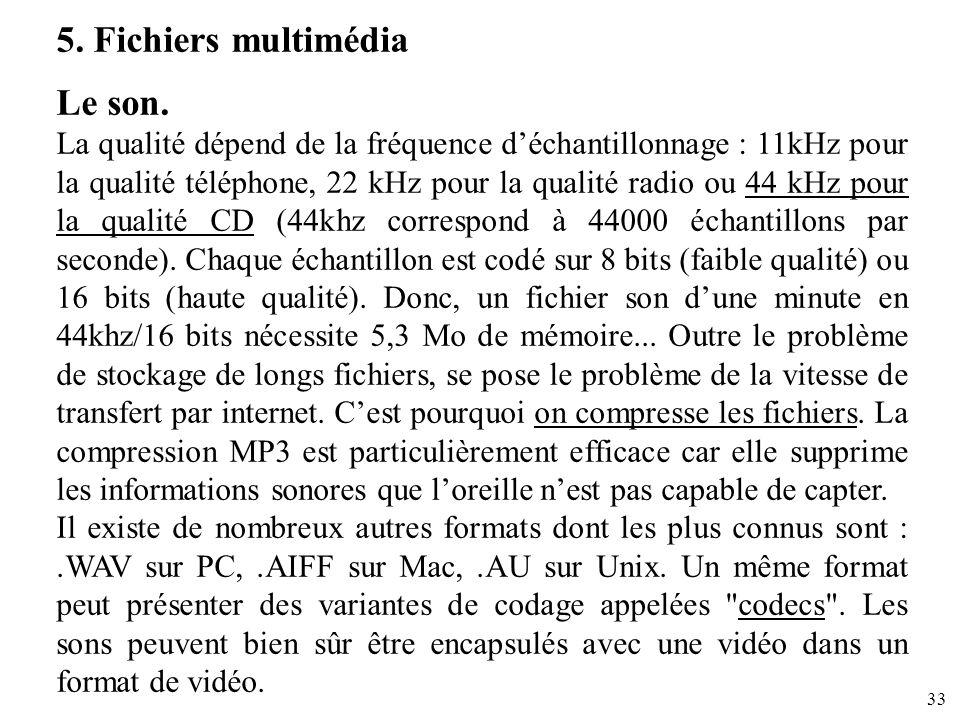 33 5. Fichiers multimédia Le son. La qualité dépend de la fréquence déchantillonnage : 11kHz pour la qualité téléphone, 22 kHz pour la qualité radio o