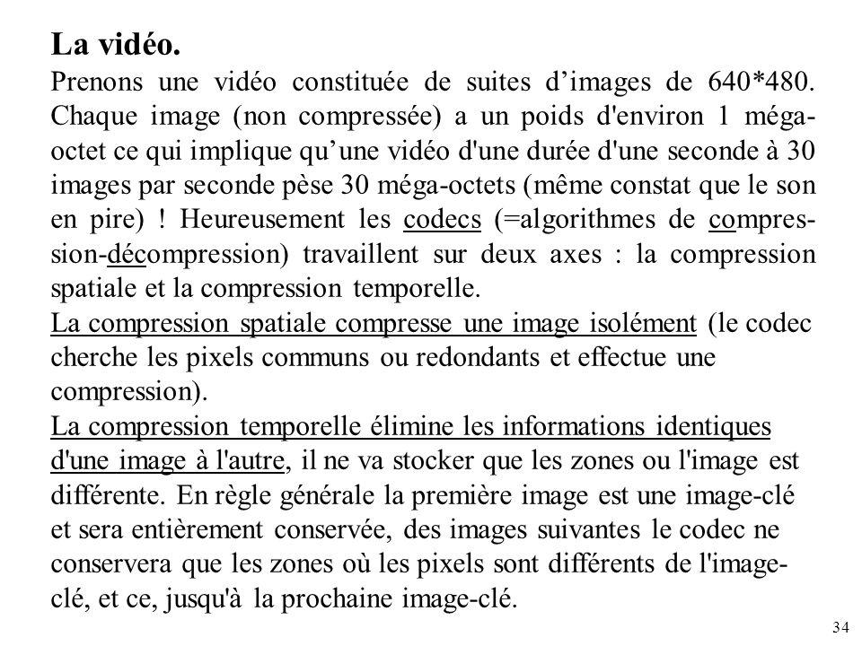 34 La vidéo. Prenons une vidéo constituée de suites dimages de 640*480. Chaque image (non compressée) a un poids d'environ 1 méga- octet ce qui impliq