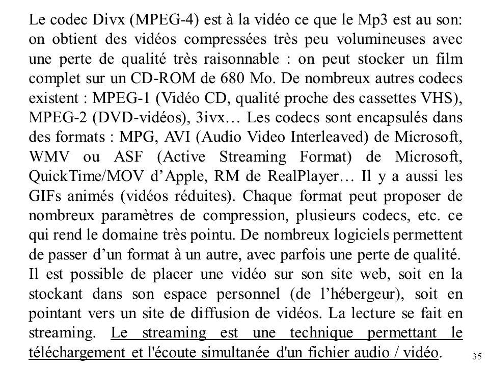 35 Le codec Divx (MPEG-4) est à la vidéo ce que le Mp3 est au son: on obtient des vidéos compressées très peu volumineuses avec une perte de qualité t