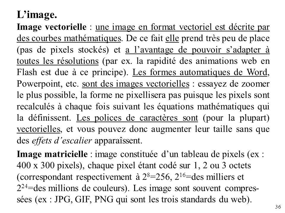 36 Limage. Image vectorielle : une image en format vectoriel est décrite par des courbes mathématiques. De ce fait elle prend très peu de place (pas d