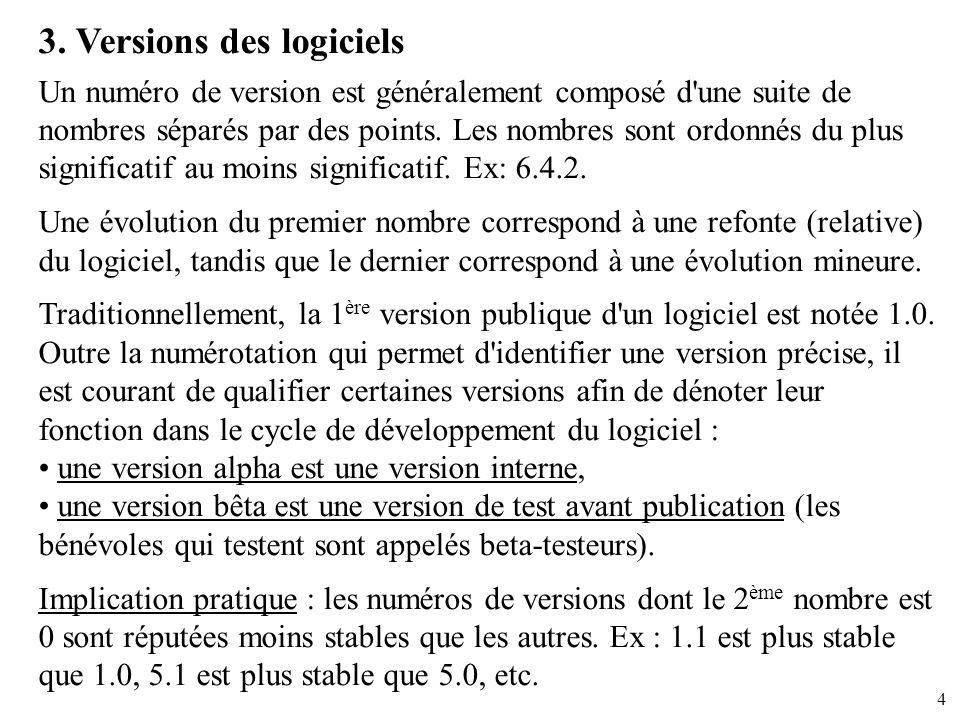 4 3. Versions des logiciels Un numéro de version est généralement composé d'une suite de nombres séparés par des points. Les nombres sont ordonnés du