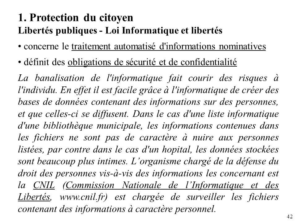 42 1. Protection du citoyen Libertés publiques - Loi Informatique et libertés concerne le traitement automatisé d'informations nominatives définit des