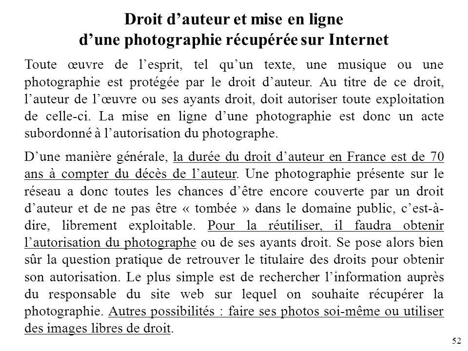 52 Droit dauteur et mise en ligne dune photographie récupérée sur Internet Toute œuvre de lesprit, tel quun texte, une musique ou une photographie est