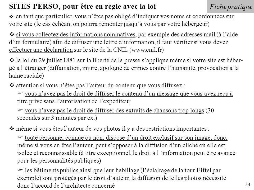 54 Fiche pratique SITES PERSO, pour être en règle avec la loi en tant que particulier, vous nêtes pas obligé dindiquer vos noms et coordonnées sur vot