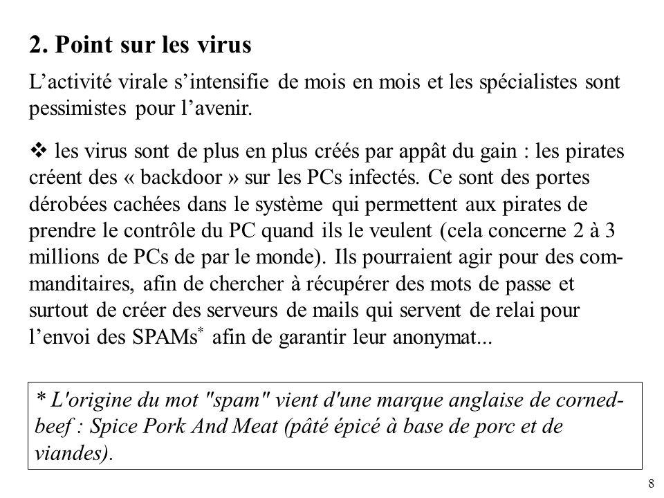 8 2. Point sur les virus Lactivité virale sintensifie de mois en mois et les spécialistes sont pessimistes pour lavenir. les virus sont de plus en plu