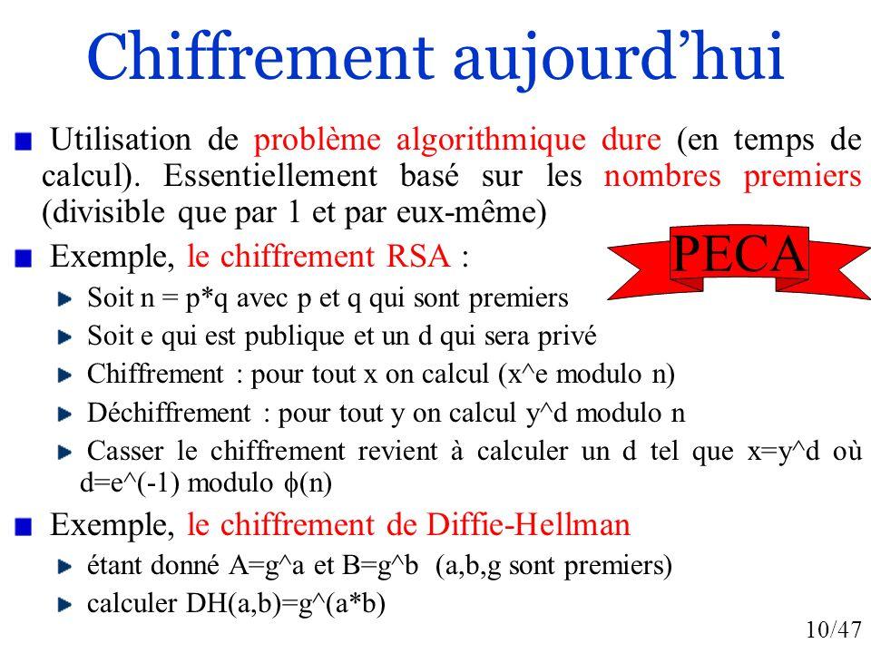 10/47 Chiffrement aujourdhui Utilisation de problème algorithmique dure (en temps de calcul). Essentiellement basé sur les nombres premiers (divisible