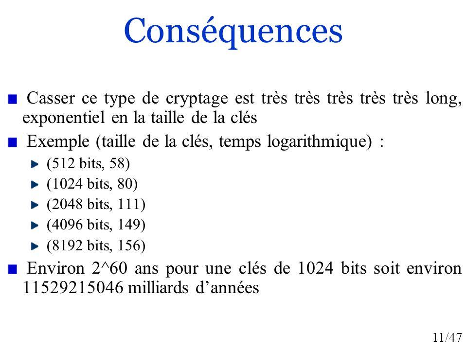 11/47 Conséquences Casser ce type de cryptage est très très très très très long, exponentiel en la taille de la clés Exemple (taille de la clés, temps