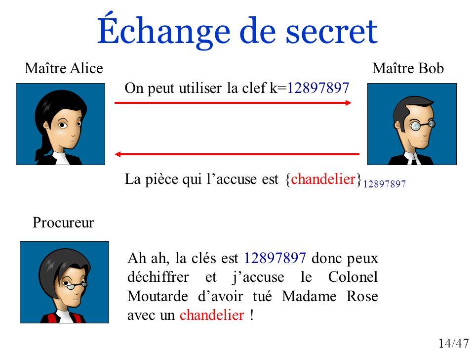 14/47 Échange de secret On peut utiliser la clef k=12897897 La pièce qui laccuse est {chandelier} 12897897 Ah ah, la clés est 12897897 donc peux déchi