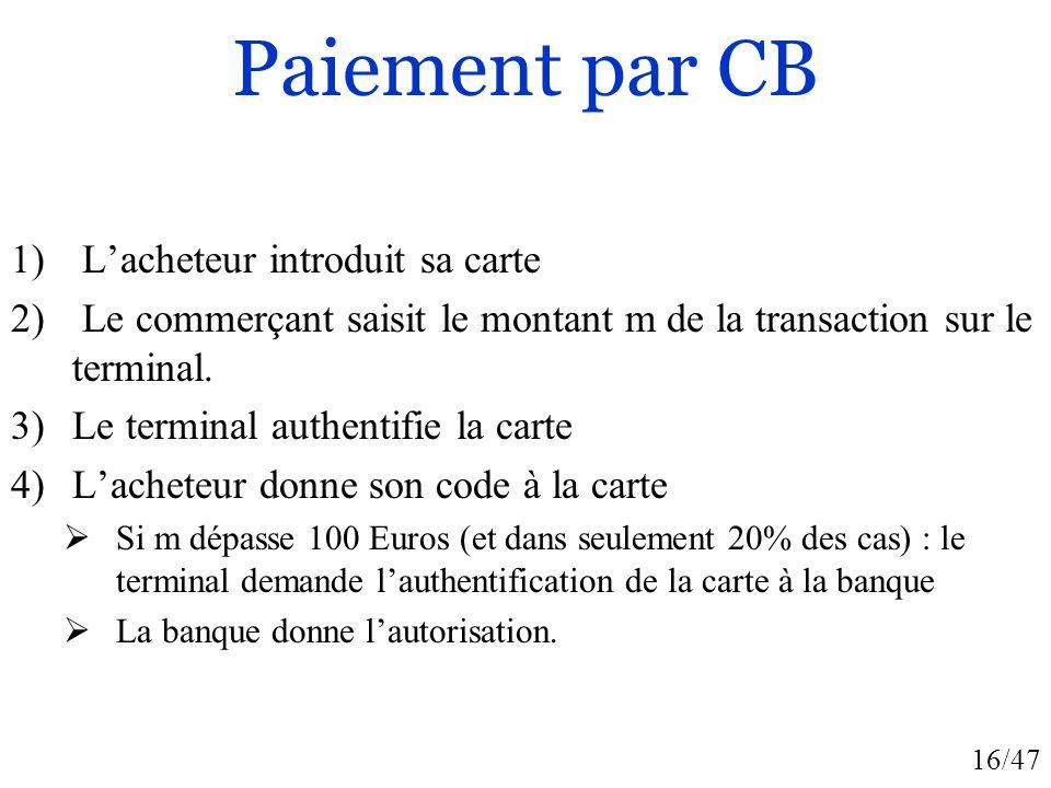 16/47 Paiement par CB 1) Lacheteur introduit sa carte 2) Le commerçant saisit le montant m de la transaction sur le terminal. 3)Le terminal authentifi