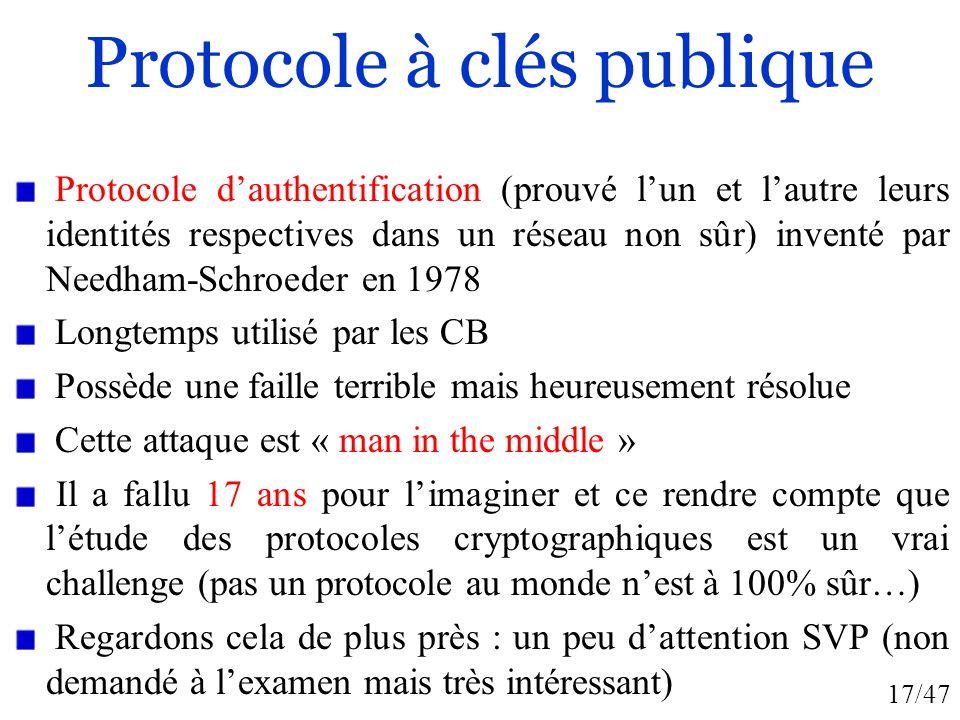 17/47 Protocole à clés publique Protocole dauthentification (prouvé lun et lautre leurs identités respectives dans un réseau non sûr) inventé par Need