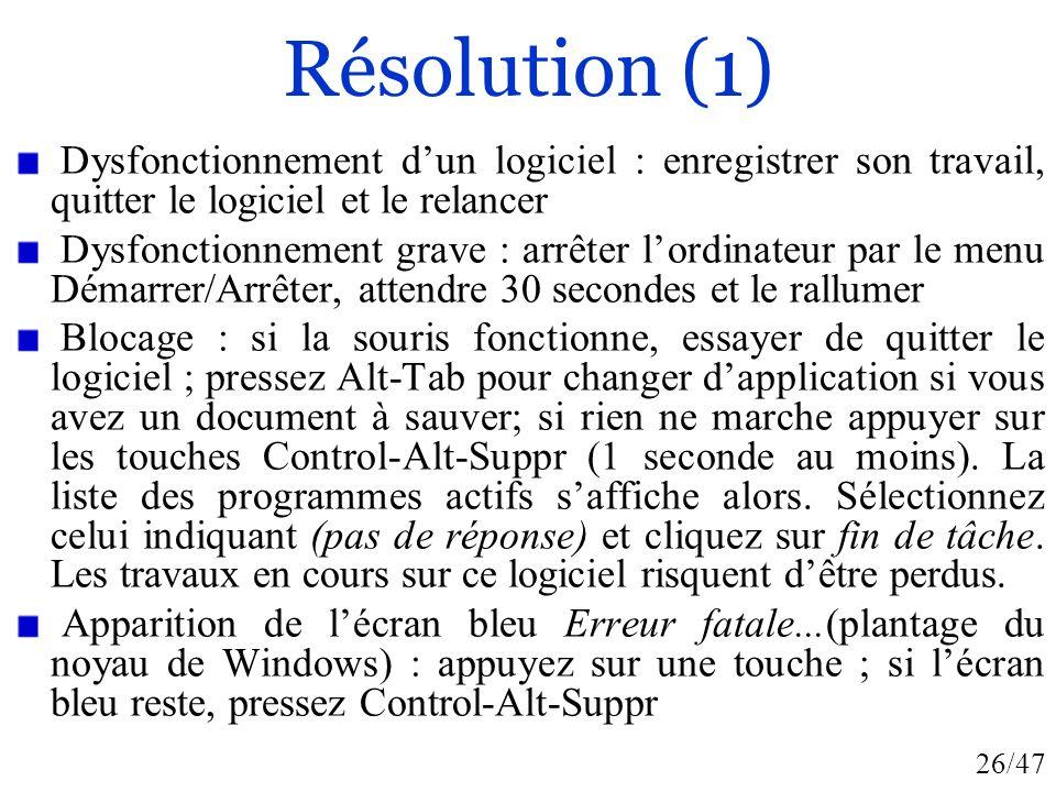 26/47 Résolution (1) Dysfonctionnement dun logiciel : enregistrer son travail, quitter le logiciel et le relancer Dysfonctionnement grave : arrêter lo