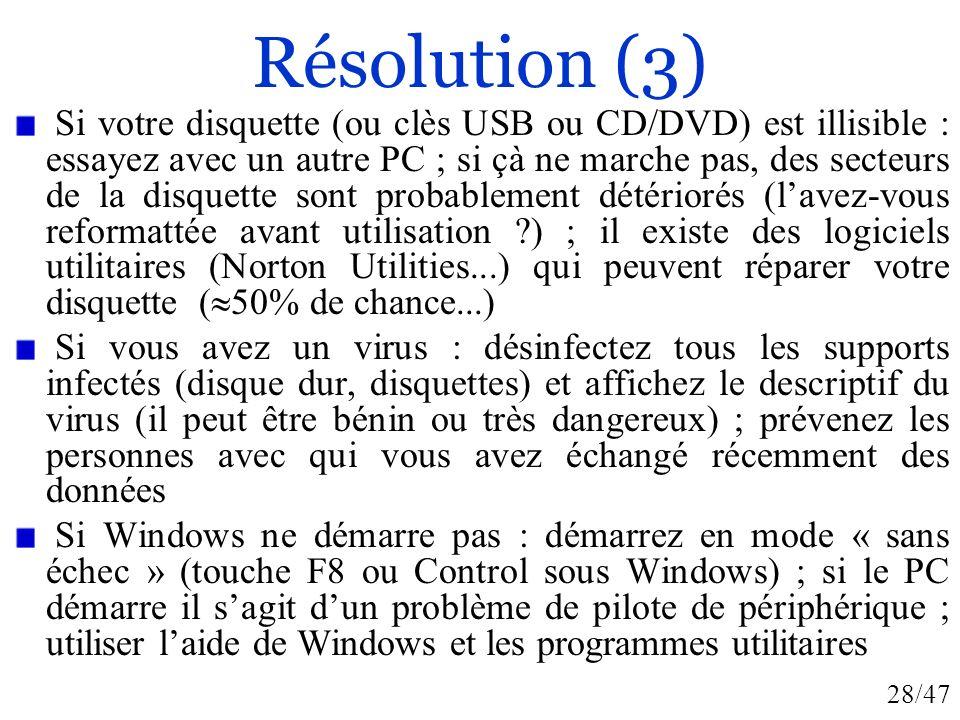 28/47 Résolution (3) Si votre disquette (ou clès USB ou CD/DVD) est illisible : essayez avec un autre PC ; si çà ne marche pas, des secteurs de la dis
