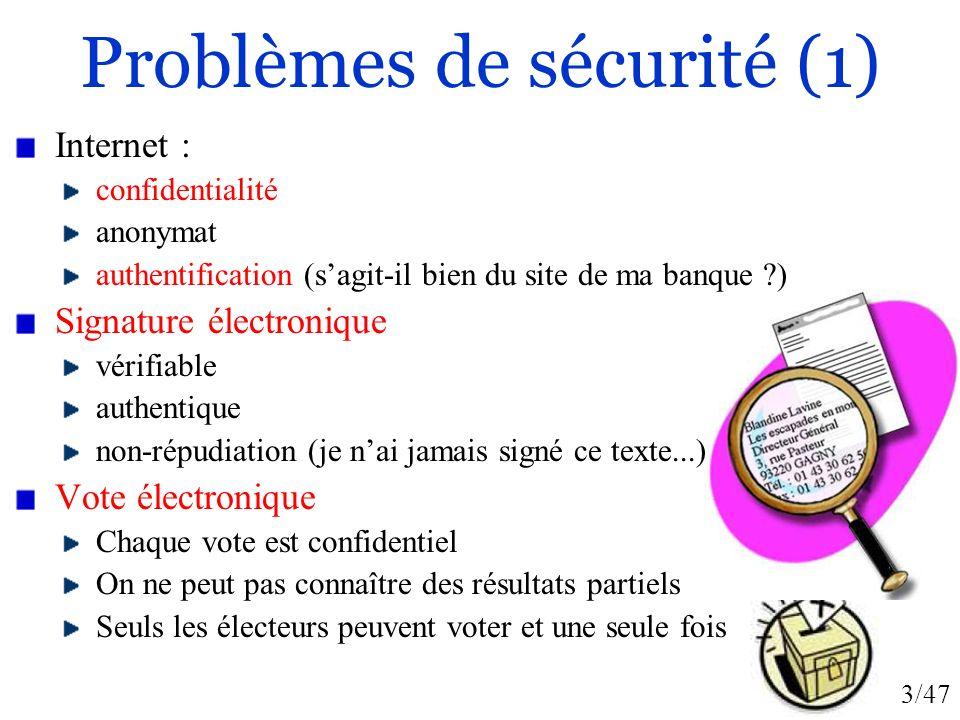 3/47 Problèmes de sécurité (1) Internet : confidentialité anonymat authentification (sagit-il bien du site de ma banque ?) Signature électronique véri