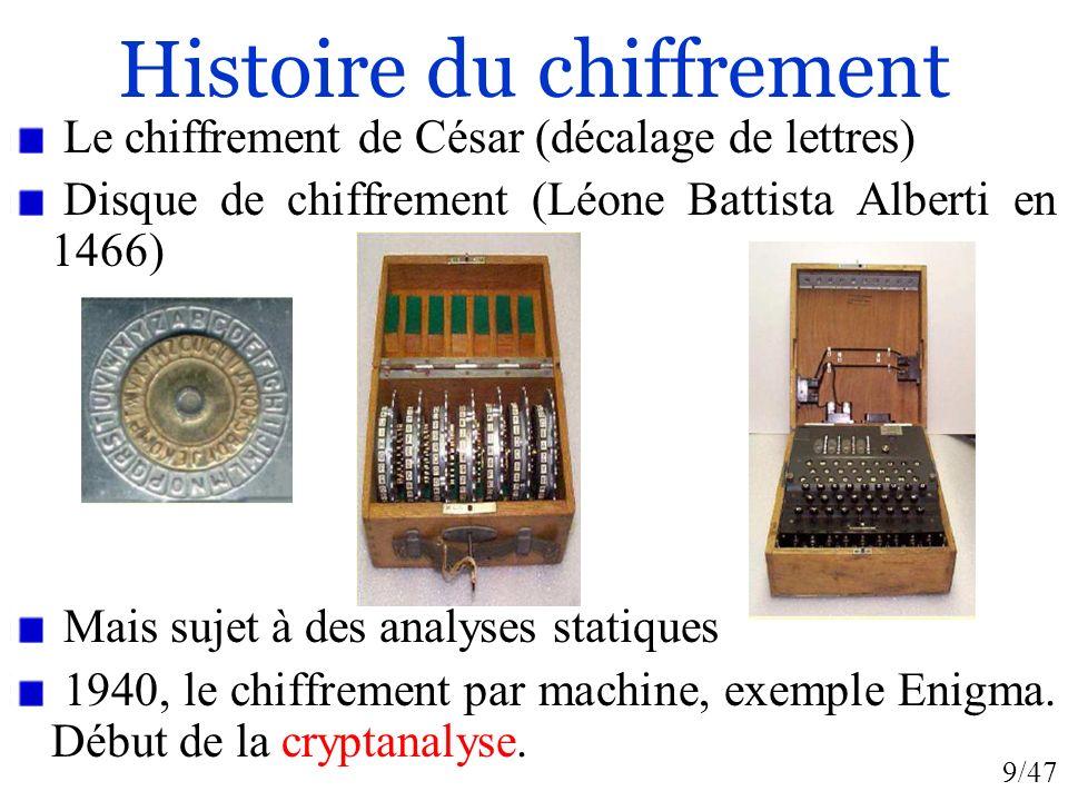 9/47 Histoire du chiffrement Le chiffrement de César (décalage de lettres) Disque de chiffrement (Léone Battista Alberti en 1466) Mais sujet à des ana