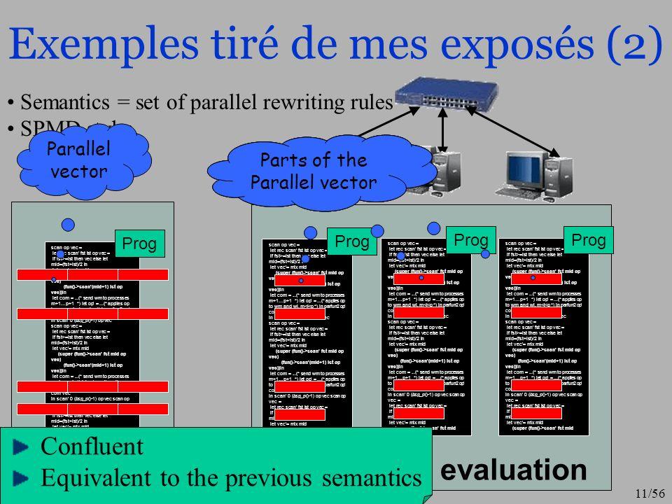 11/56 Exemples tiré de mes exposés (2) Distributed evaluation scan op vec = let rec scan' fst lst op vec = if fst>=lst then vec else let mid=(fst+lst)