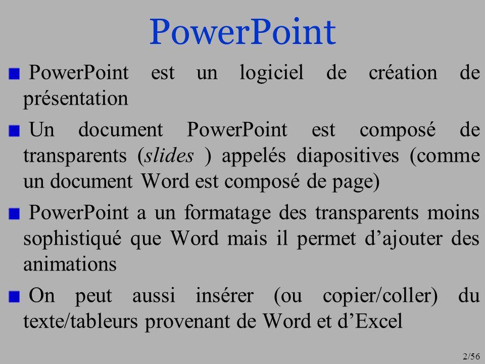 2/56 PowerPoint PowerPoint est un logiciel de création de présentation Un document PowerPoint est composé de transparents (slides ) appelés diapositiv