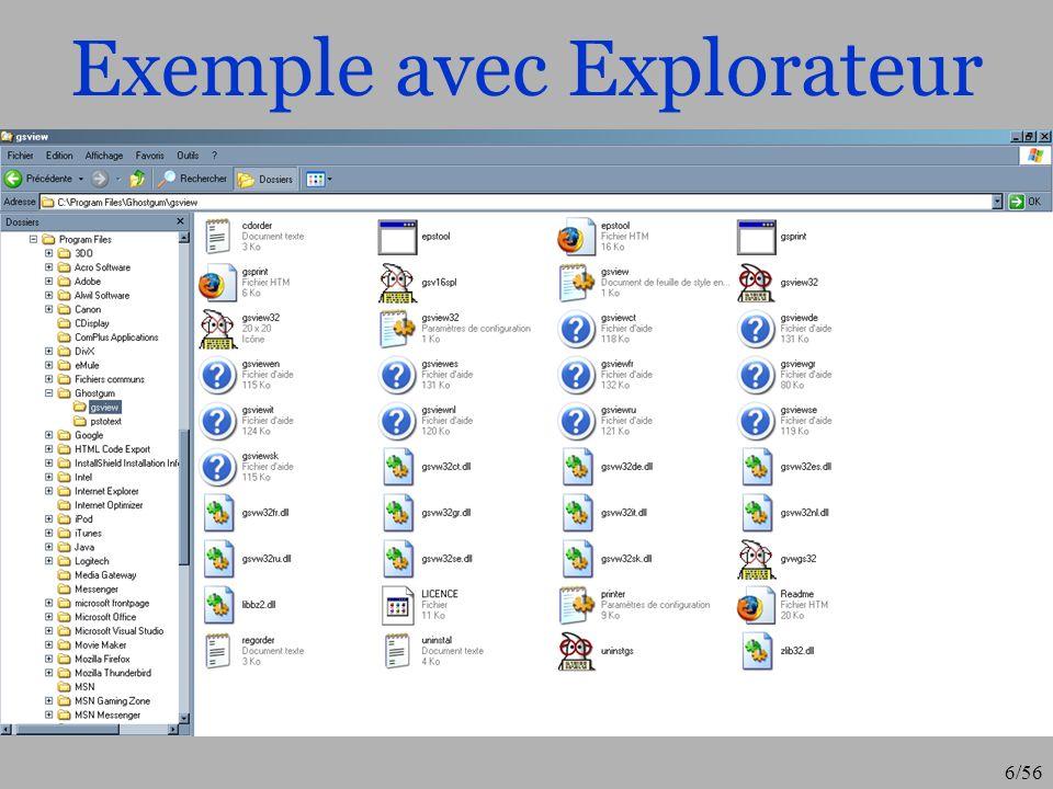 7/56 « Lexplorateur windows » Celui vous permettra de créer dans larborescence de votre système de fichier, des nouveaux répertoires pouvant contenir de nouveaux fichiers (clic droit puis choisissez « nouveau dossier ») Vous pouvez aussi « naviguer » dans cette arborescence : Ouvrir un fichier Supprimer un fichier (clic droit ou « suppr » ou « shift–suppr ») Déplacer des fichiers/répertoires par simple « glisser » Copier/couper/coller des fichiers/répertoires (ctrl–c –x –v) Afficher les propriétés du fichier/répertoire (clic droit) Rechercher un (ou des) documents Découvrez ce que comportent les menus…