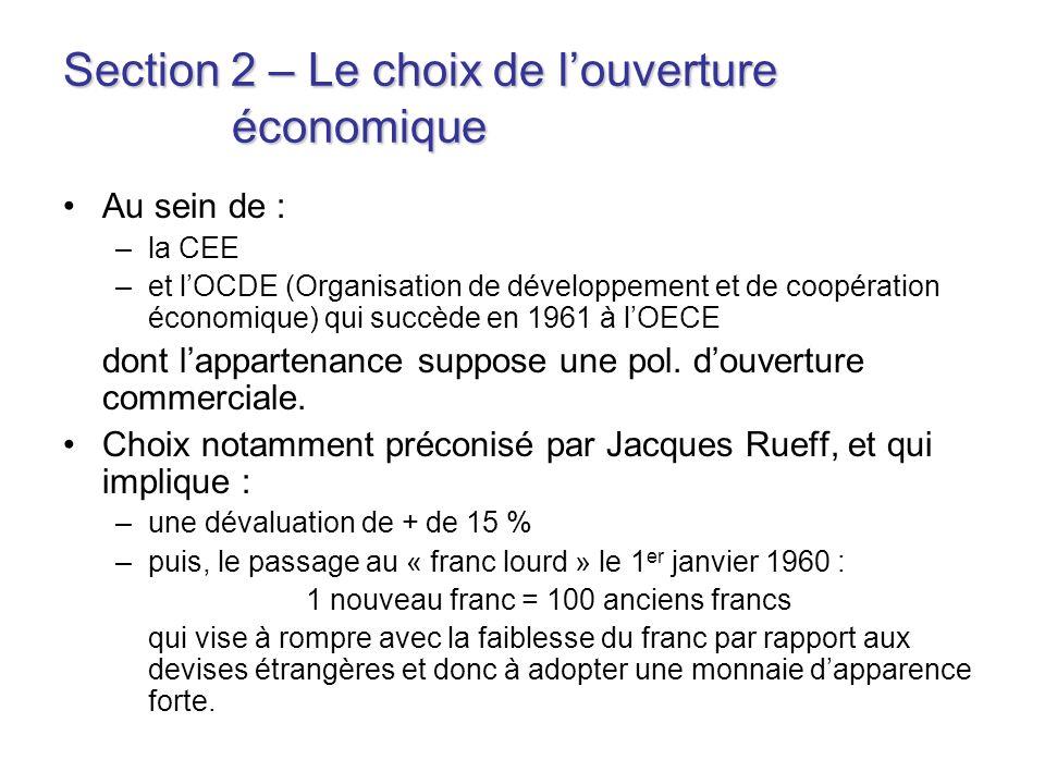 Section 2 – Le choix de louverture économique Au sein de : –la CEE –et lOCDE (Organisation de développement et de coopération économique) qui succède