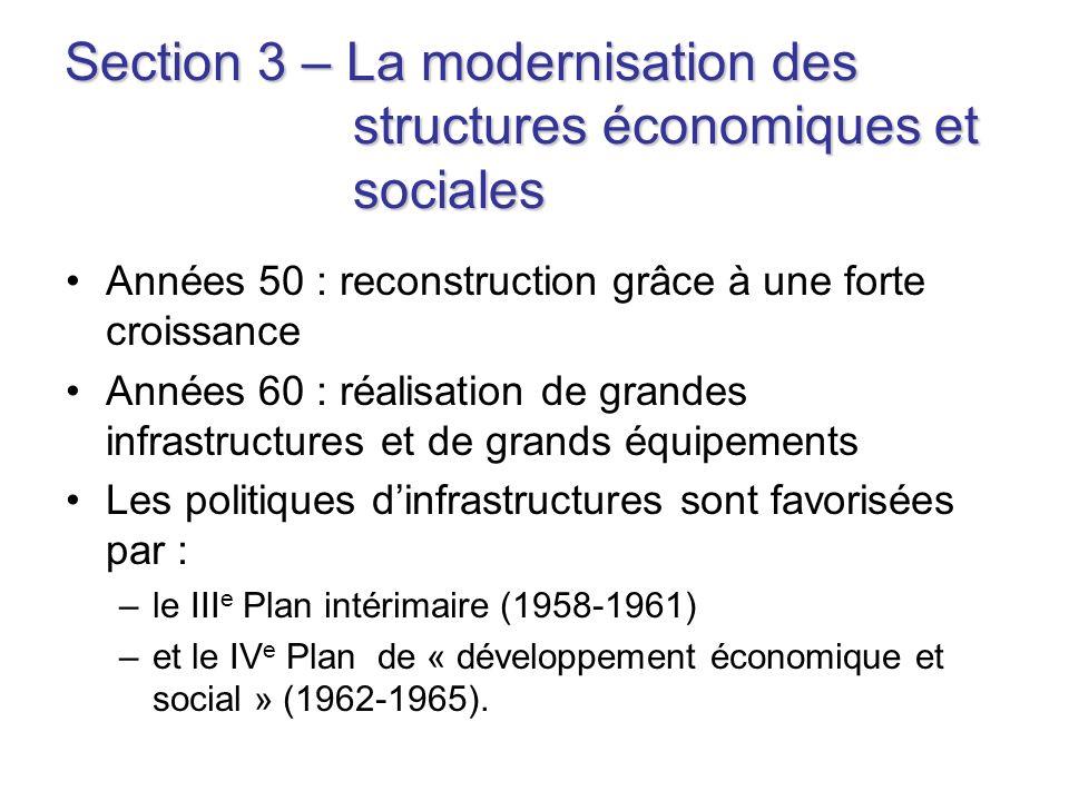 Section 3 – La modernisation des structures économiques et sociales Années 50 : reconstruction grâce à une forte croissance Années 60 : réalisation de