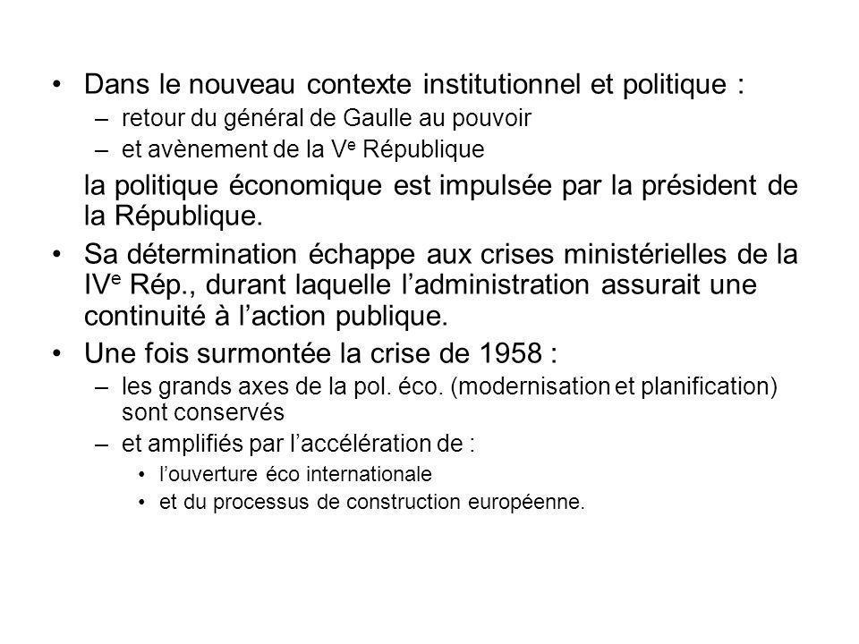 Dans le nouveau contexte institutionnel et politique : –retour du général de Gaulle au pouvoir –et avènement de la V e République la politique économi