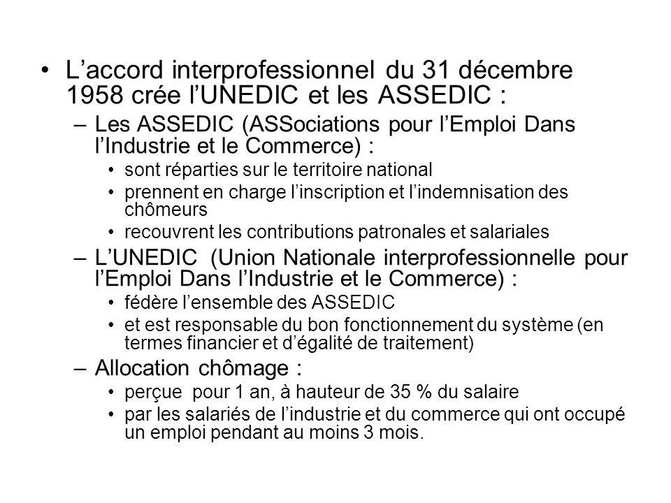 Laccord interprofessionnel du 31 décembre 1958 crée lUNEDIC et les ASSEDIC : –Les ASSEDIC (ASSociations pour lEmploi Dans lIndustrie et le Commerce) :