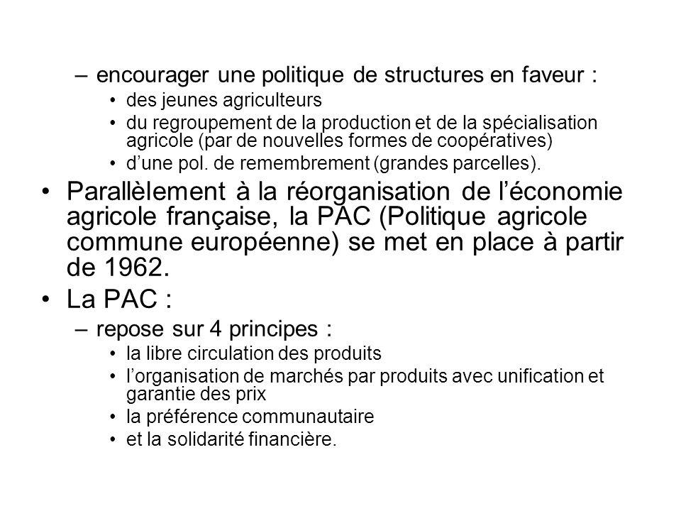 –encourager une politique de structures en faveur : des jeunes agriculteurs du regroupement de la production et de la spécialisation agricole (par de