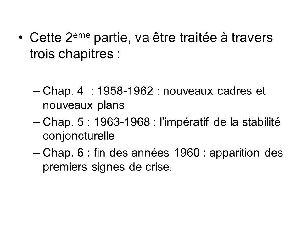 Cette 2 ème partie, va être traitée à travers trois chapitres : –Chap. 4 : 1958-1962 : nouveaux cadres et nouveaux plans –Chap. 5 : 1963-1968 : limpér