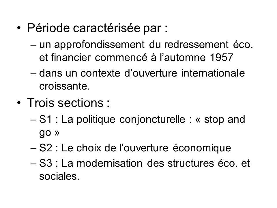 Période caractérisée par : –un approfondissement du redressement éco. et financier commencé à lautomne 1957 –dans un contexte douverture international