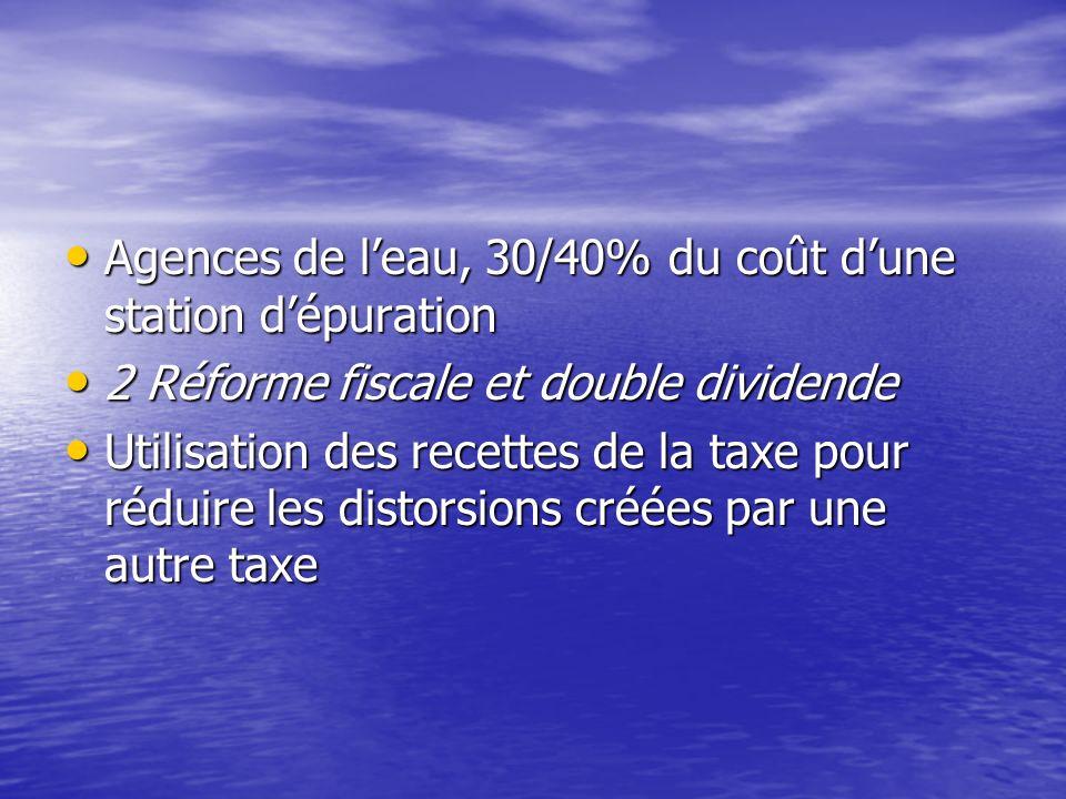 Affectation de la recette de la taxe 1 La taxe affectée 1 La taxe affectée Financement de subventions de la dépollution dans le même domaine Financeme
