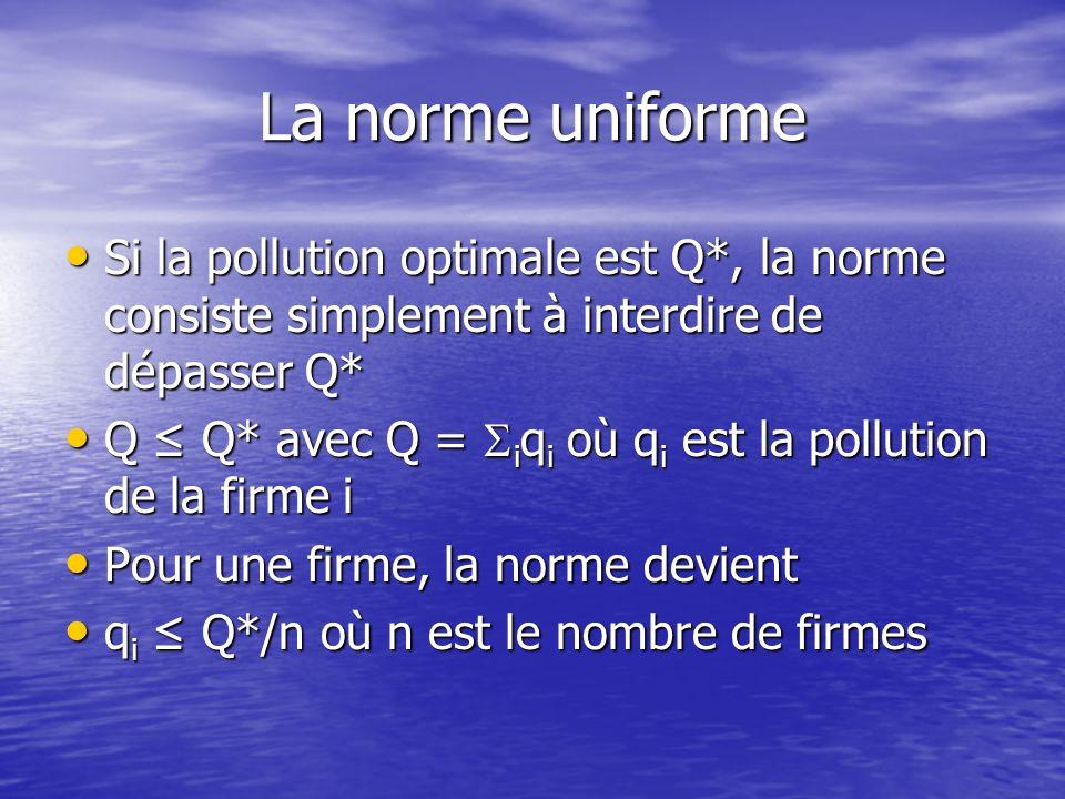 La norme uniforme Si la pollution optimale est Q*, la norme consiste simplement à interdire de dépasser Q* Si la pollution optimale est Q*, la norme consiste simplement à interdire de dépasser Q* Q Q* avec Q = i q i où q i est la pollution de la firme i Q Q* avec Q = i q i où q i est la pollution de la firme i Pour une firme, la norme devient Pour une firme, la norme devient q i Q*/n où n est le nombre de firmes q i Q*/n où n est le nombre de firmes