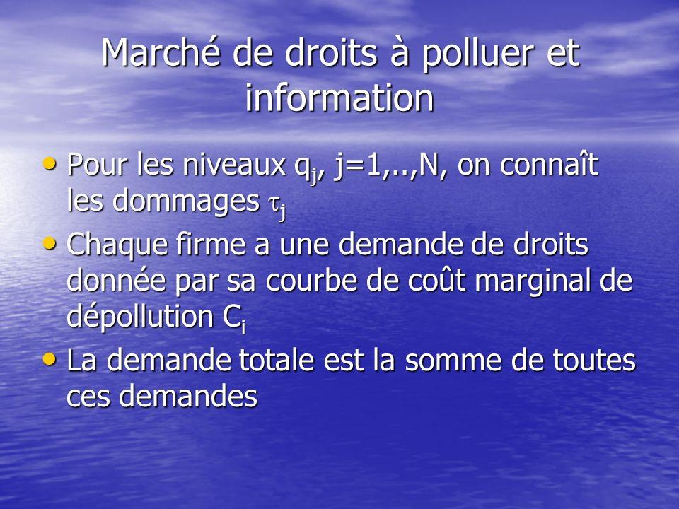 Exemple de marchés de droits ProgrammeMarchandisePériode Pollution de lair Polluants (Clean Air Act) 1974 - Protection de lozone CFC 1987 - Pluies aci