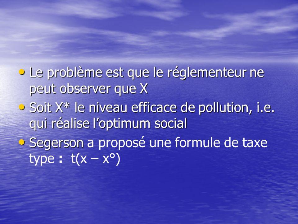 La taxe ambiante (Segerson, 1988) Supposons que les coûts de réduction de la quantité dengrais épandue soit donnés par les fonctions C s (q s ) et C v