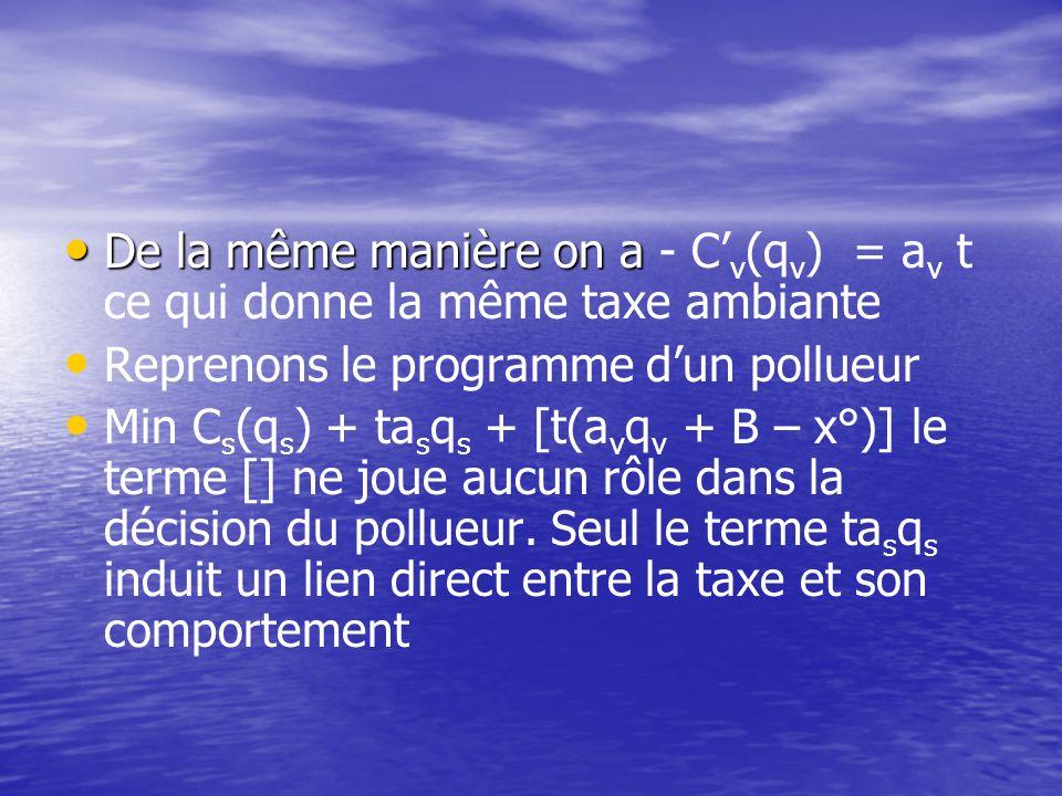 Cette taxe est assise sur la différence entre le niveau de pollution ambiante observé et un niveau de référence x° choisi arbitrairement (par exemple