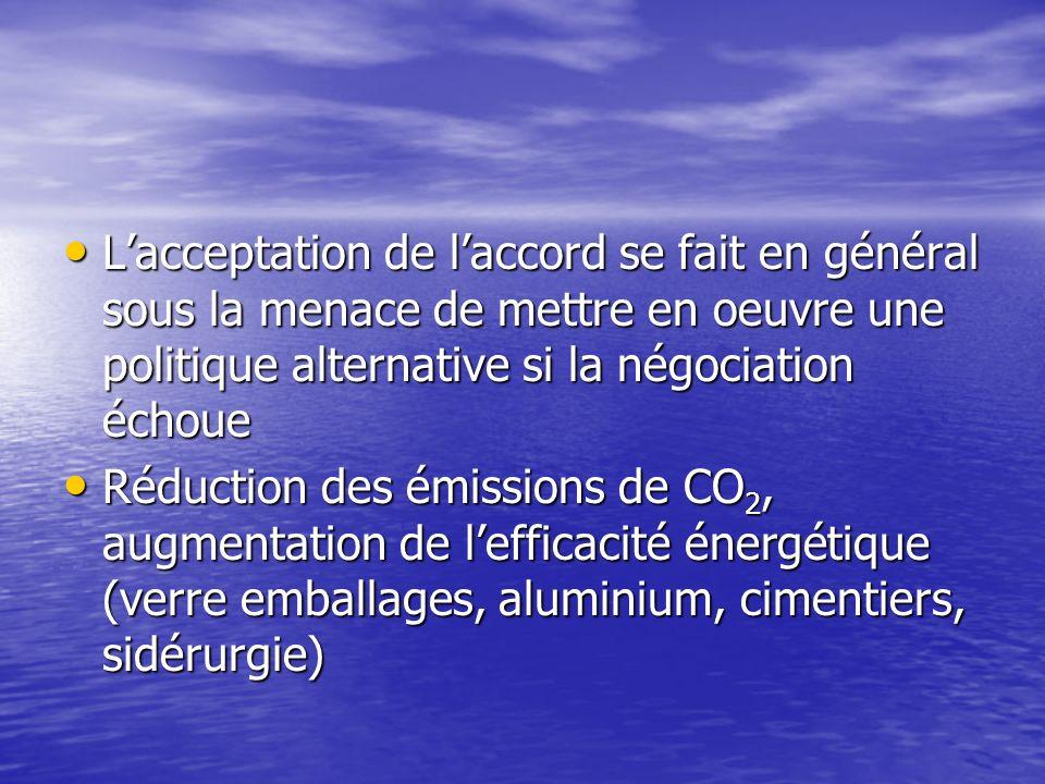 Les accords volontaires ou négociés Dispositifs « contractuels » liant une autorité publique et lindustrie, où lindustrie sengage à respecter des obje